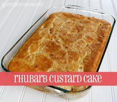 Rhubard custard cake -- pin this now so you're ready for rhubarb season!