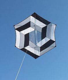Optical Illusion Rokkaku kite,  Paul Horner, Quathiaski Cove, British Columbia, Canada
