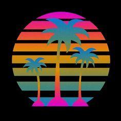 80s, mini blinds effect, palms, neons