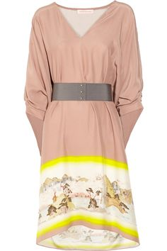 Easy and weighless - MATTHEW WILLIAMSON Kyoto belted silk dress #neon #neutral