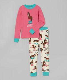 Look at this #zulilyfind! Lazy One Pink 'Booty Sleep' Pajama Set - Toddler & Girls by Lazy One #zulilyfinds