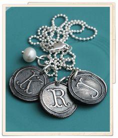 <p> Vintage silver initial charm necklace</p>