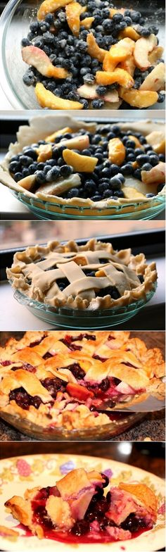 Blueberry Peach Pie Ingredients: Pie Crust: cups all-purpose flour 1 teaspoon salt 1 teaspoon sugar 1 cup sticks) unsalted butter, chilled and cut into small pieces ¼ to ½ cup ice water Filli… No Bake Desserts, Just Desserts, Delicious Desserts, Dessert Recipes, Yummy Food, Yummy Treats, Sweet Treats, Pecan Pie Cake, Cheesecake Tarts