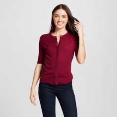 Denim & Co. Essentials Short Sleeve V-neck Cardigan | Short sleeves