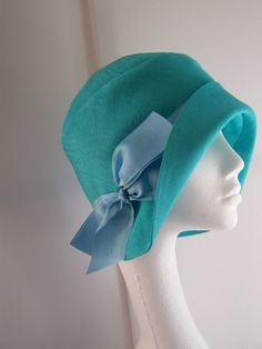 Cloche Hat in Turquoise Moire Cotton Gatsby by MindYourBonce, £50.00