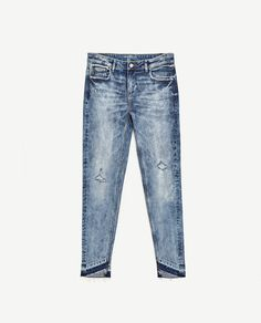 Image 8 of MID-RISE JEANS WITH UNEVEN HEM from Zara