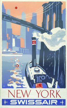 New York. One-sheet _ x silkscreened poster. Scarce image of the skyline of New York from tugboat moving toward the Brooklyn Bridge. Great pastel colors with expert touch-ups to corners and edges. Travel Ads, Airline Travel, Poster Vintage, Vintage Travel Posters, Art Deco Posters, Poster Prints, New York Illustration, New York Poster, New York Art