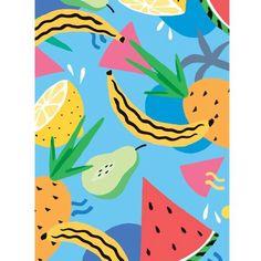 Bananas n stuff. #banana #melon #pineapple #pattern #fruit #pear #illustration #tropical #lemon