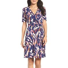 Women's Ellen Tracy Jersey Faux Wrap Dress ($72) ❤ liked on Polyvore featuring dresses, blue multi, ellen tracy dresses, blue wrap dress, faux wrap dress, blue layered dress and wet look dress