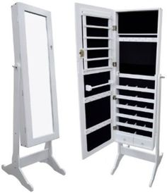 Black Mirrored Jewelry Cabinet Armoire Stand Mirror Necklaces