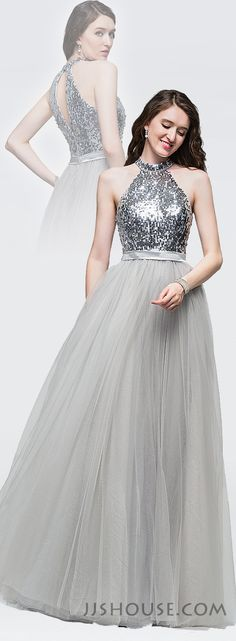 Graceful and beautiful,this tulle prom dress has the Midas touch with special design in the back. #JJSHOUSE