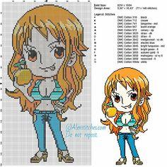 Nami (One Piece) free cross stitch pattern 82x150 15 colors