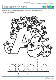 Descarga nuestro cuadernillo del abecedario en inglés en PDF gratis, con una palabra de vocabulario por cada una de las letras, y dibujos para colorear... English Class, Teaching English, Learn English, Funny Baby Faces, Funny Babies, All About Me Printable, Pre K Curriculum, Alphabet, Home Learning