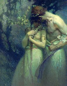 Alfons Maria Mucha (Czechoslovakian Art Nouveau painter) 1860 - 1939, Spring Night, ca. 1910, oil on canvas, 36 x 30¼ in. (91.4 x 76.8 cm.), private collection