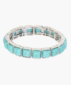 Turquoise & Silvertone Square Stretch Bracelet