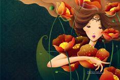 girl in flower by Tahypuka.deviantart.com on @deviantART