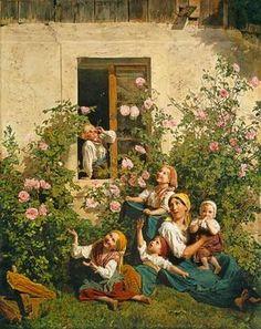 """Ferdinand Georg Waldmüller (1793-1865) """"Soap blowing children"""""""