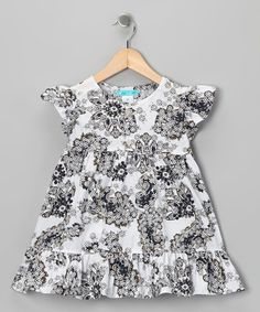 Loving this White & Navy Ruffle Dress - Infant, Toddler & Girls on #zulily! #zulilyfinds