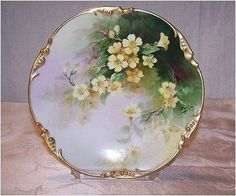 Delicate 'Yellow Primroses' Hand Painted by the Renown Late 19th Century Artist 'Emile Pouyat' Decorated on Fine Limoges Porcelain Porcelain & Pottery:Antique:Artist Signed Plates:Ceramic, Porcelain &