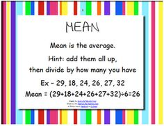 Here's a set of materials for a center on finding mean, median ...