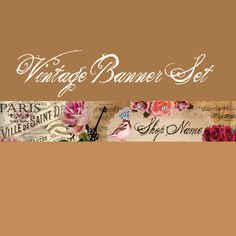 Vintage Royal banner and FREE matching by lilpinkzebradesigns
