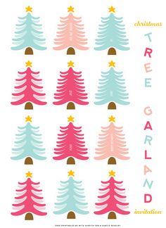 FREE Printable Christmas Tree Party Invitation