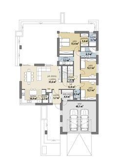 European House Plans, My House Plans, Bungalow House Plans, Modern Bungalow, Home Building Design, Building A House, L Shaped House, Modern Family House, House Outside Design