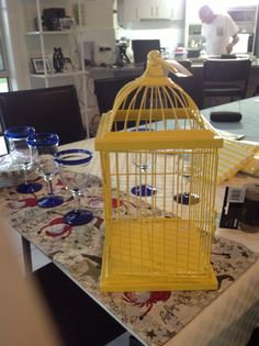 Bird cage for present table