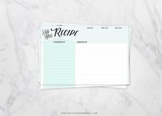 4x6 Retro Fill in Recipe Cards by OhEverythingHandmade on @creativemarket