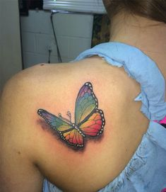 Lovely Rainbow Color Butterfly Tattoo Ideas for Women