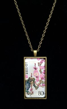 52d942e1daa Chinese Plum Blossom Postage Stamp Necklace by LaCartePostale