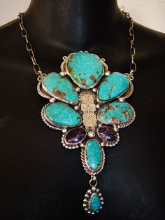 NAVAJO KACHINA TURQUOISE SIGNED NECKLACE,112gr CHAVEZ Sterling Silver