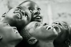 Africa |  Young children looking at the stars.  Photographed in the Republic of Congo, by Anthony Asael, via Flickr
