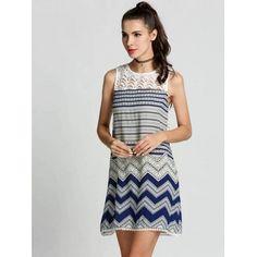 Women O-Neck Sleeveless Hollow Lace Back Print Casual Short Dress
