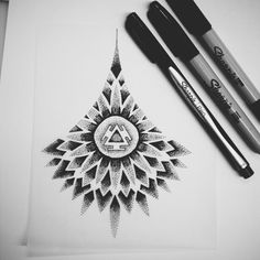 Chakra flower sketch #blackspottattoocompany #dotwork #sharpie #sketches #drawing
