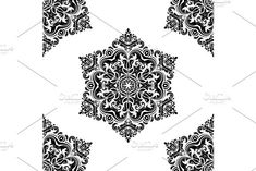 Oriental vector pattern with damask, arabesque and floral elements. Damask Patterns, Arabesque, Vector Pattern, Abstract Backgrounds, Monochrome, Oriental, Floral, Design, Monochrome Painting