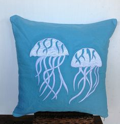 Decorative pillows Jellyfish Coastal 16x16  Nautical Pillow-beach embroidered via Etsy