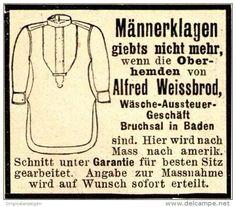 Original-Werbung/ Anzeige 1898 - OBERHEMDEN - ALFRED WEISSBROD -  BRUCHSAL - ca. 45 x 40 mm