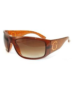 Take a look at this Brown Rhinestone Logo Sunglasses - Women by GUESS on #zulily today!