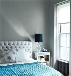 Pretty grey and aqua. I want to make this headboard, but I'd be afraid to paint the walls grey as well.
