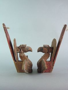 Catawiki online auction house: Two wooden mosquito net hooks - Java - Indonesia