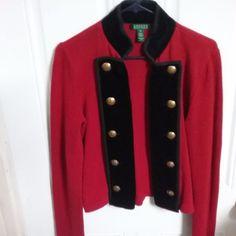 Ralph Lauren Red Knit Black Velvet Military Jacket Great Buttons  Size M #LaurenRalphLauren #BasicJacket