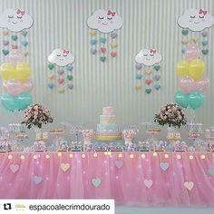 Cumpleaños Amanda Rainbow Theme, Rainbow Birthday, Unicorn Birthday, Baby Birthday, Birthday Party Decorations, Baby Shower Decorations, Birthday Parties, Rain Baby Showers, Cloud Party