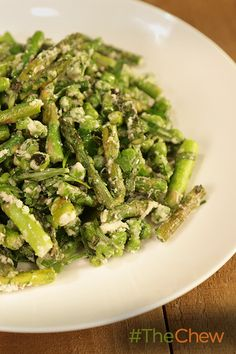 This fresh veggie Asparagus and Pea Saute is the perfect side for a Spring dish! Mario Battali on The Chew. Cookout Side Dishes, Dinner Side Dishes, Side Dishes Easy, Vegetable Side Dishes, The Chew Recipes, Vegetable Recipes, Vegetarian Recipes, Healthy Recipes, Finger Food Appetizers