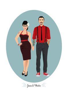 Artículos similares a Custom couple portrait, Rockabilly, Digital Illustration to print, Couple Rockabilly portrait en Etsy Rockabilly Couple, Rockabilly Moda, Moda Pinup, Rockabilly Wedding, Rockabilly Fashion, Retro Fashion, Vintage Fashion, Rockabilly Style, Punk Fashion