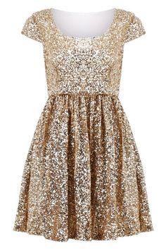 Paillettes Apricot Shift Dress - Glitter Gold Dress For Girls
