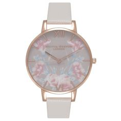 Olivia Burton Women's Stainless Steel Enchanted Garden Leather Strap... ($125) ❤ liked on Polyvore featuring jewelry, watches, mink, olivia burton watches, floral watches, stainless steel wrist watch, pin jewelry and floral print watches