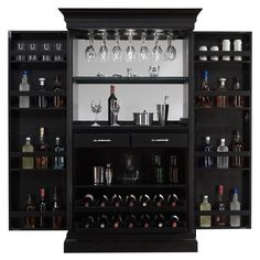 Function and beauty align perfectly in this magnificent server. This bar is finished in a striking black stain with brushed steel accent hardware. Stemware holders line the top of the interior while dual pull-out wine racks grace the bottom.