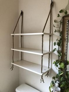 Three Tier Wood and Rope Hanging Shelves in White Wash Stain, Bathroom shelves, Small Bathroom Storage, Rustic Shelves, Farmhouse Shelves : Three Tier Wood and Rope Hanging Shelves in White Wash Stain Diy Bathroom, Small Bathroom Storage, Bathroom Shelves, Bathroom Ideas, Shower Ideas, Farmhouse Furniture, Diy Furniture, Furniture Storage, Farmhouse Decor