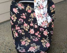 Stretchy Car Seat Cover/Nursing Cover by Solchan    Multiuse Stretch Baby Carseat Cover, girl/floral/flowers canopy